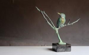 Bronzen beeldje ijsvogel kopen buy kingfisher art