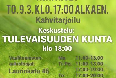 Vihreiden vaalitoimisto aukeaa to 9.3.