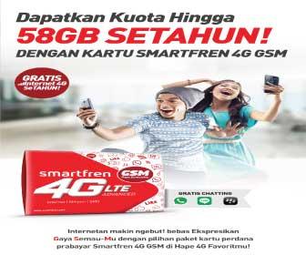 Cara Mendapatkan Kuota Smartfren 4G 58 GB Setahun