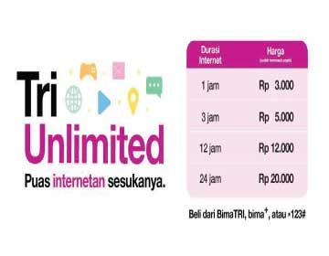 Tri Paket Internet Unlimited Termurah