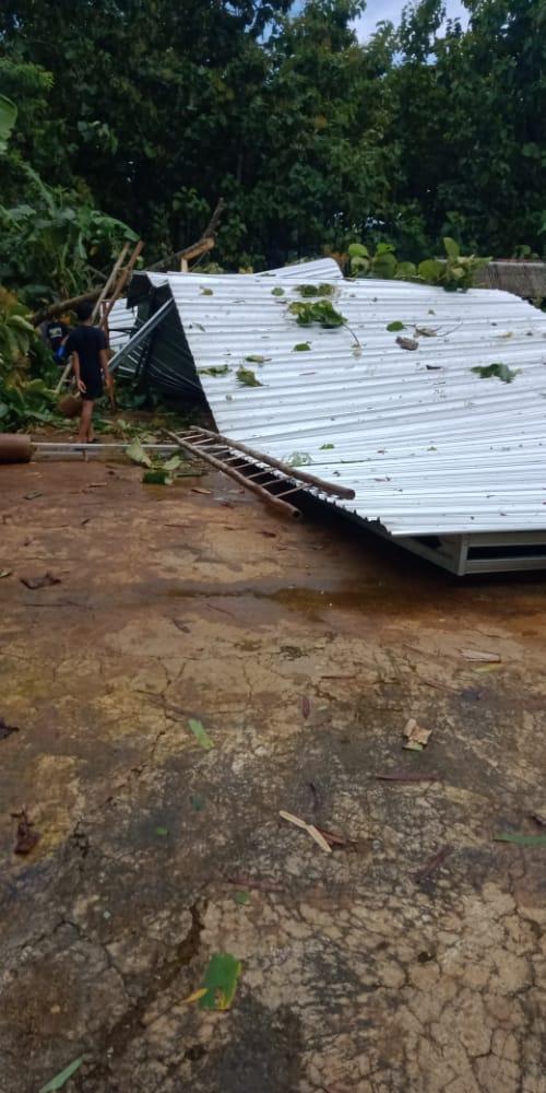 Salah satu rumah yang terkena pohon tumbang