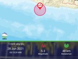 Gempa Magnitudo 5,3 SR, Guncang Kabupaten Gunungkidul