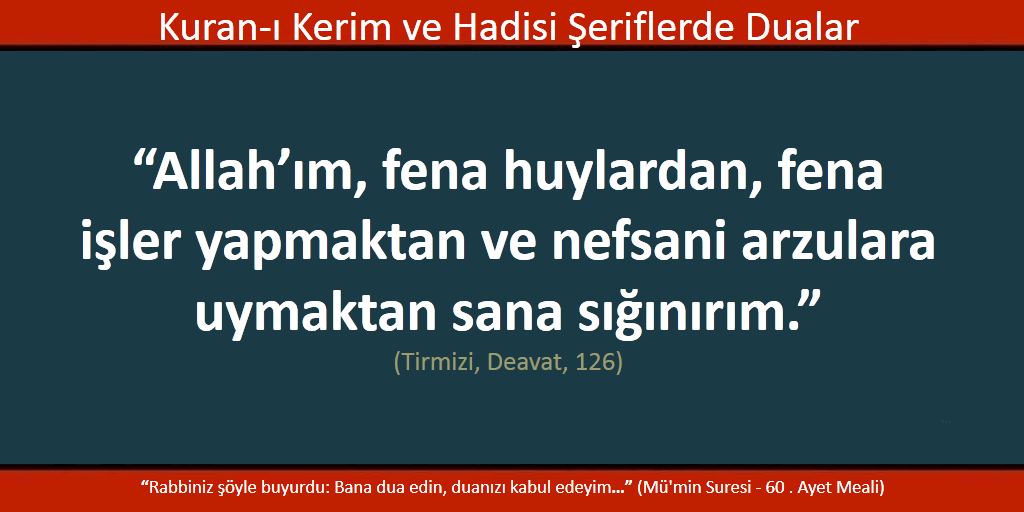 Allah'ım, kötü huylardan ve kötü işler yapmaktan sana sığınırız