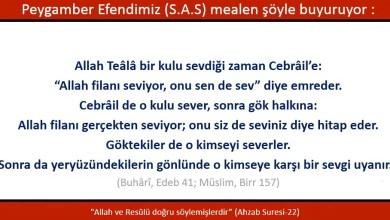 Photo of Allahu Teala bir kulunu sevdiği zaman Cebrail'e; Allah filanı seviyor, onu sen de sev diye emreder, Cebrail de o kulu sever, sonra gök halkına: …