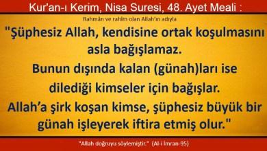 Photo of Şüphesiz Allah, kendisine ortak koşulmasını asla bağışlamaz, bunun dışında kalan (günah)ları ise dilediği kimseler için bağışlar