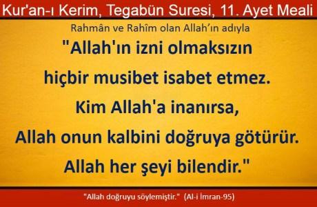 Allah'ın izni olmaksızın hiç bir musibet isabet etmez, kim Allah'a inanırsa, Allah onun kalbini doğruya götürür