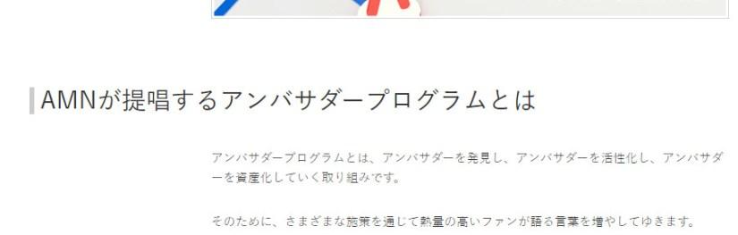 「 アンバサダープログラム 」AMN社のお話