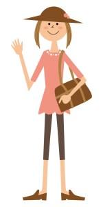 バッグを持つ旅行女性