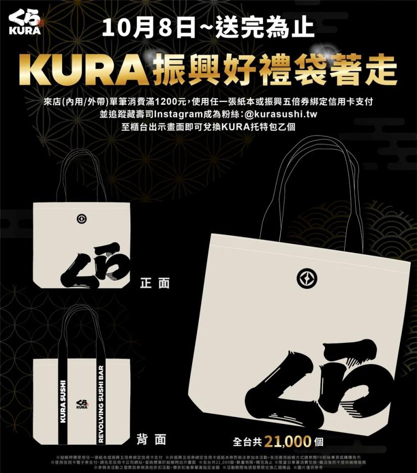 藏壽司 Kurasushi 》KURA振興好禮袋著走!持振興五倍劵吃藏壽司,消費滿額贈KURA托特包!【2021/10/8 起】