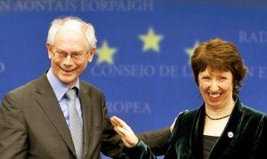 Herman Van Rompuy pierwszy prezydent Unii Europejskiej oraz Catherine Ashton brytyjska baronessa szefowa unijnej dyplomacji  Fot. archiwum