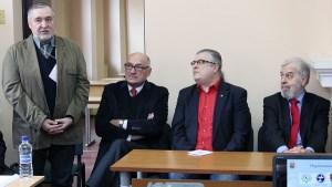 Gospodarze i goście Olimpiady (od lewej): prof. Algis Kalėda, ambasador RP w Wilnie Janusz Skolimowski, doc. dr Antanas Smetona, Stanisław Cygnarowski Fot. Marian Paluszkiewicz