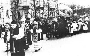 Kondukt żałobny podążał głównymi ulicami Wilna Fot. archiwum