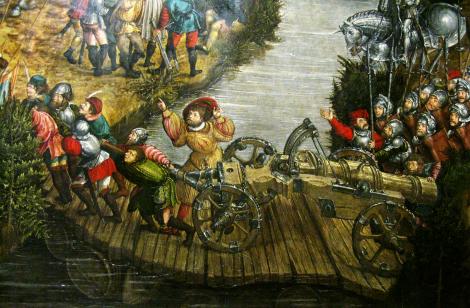 Na najbardziej znanym obrazie bitwy, chociaż malarza nieznanego, doskonale widać jak się przechyla pontonowy most od toczonej po nim ciężkiej armaty Fot. Waldemar Szełkowski