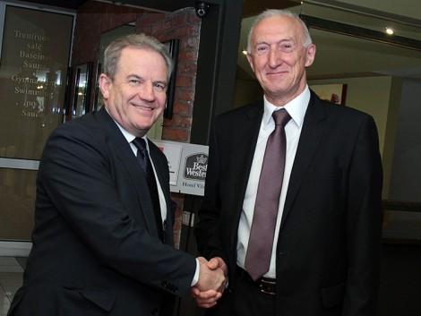 Minister środowiska Kęstutis Trečiokas oraz kierownik WPHI w Wilnie, radca-minister Henryk Szymański Fot. Marian Paluszkiewicz