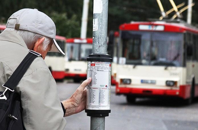 Mężczyzna w podeszłym wieku sprawdzający rozkład autobusowy w Wilnie
