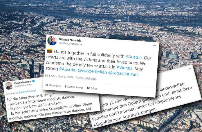 Atak w Wiedniu: słowa wsparcia Nausėdy, zalecenia austriackiego rządu