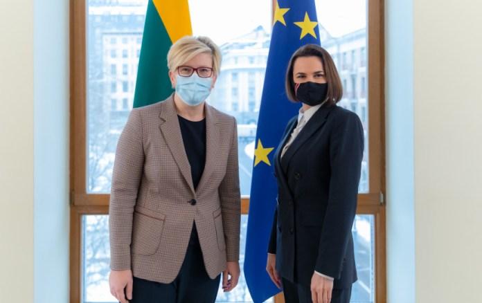 Premier Litwy Ingrida Šimonytė i przedstawicielka białoruskiej opozycji Swiatłana Cichanouska