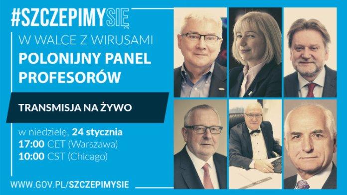 Plakat promujący panel profesorów.