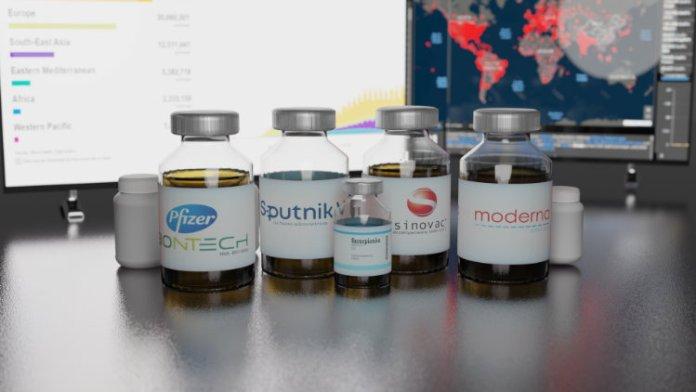 W rzędzie wystawione preparaty do szczepienia na koronawirusa.