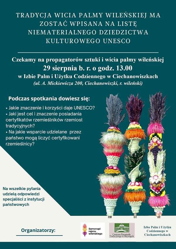 Zapowiedź wpisania palm wileńskich na listę UNESCO w Ciechanowiszkach 29 sierpnia