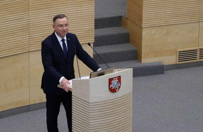 Przemówienie prezydenta RP Andrzeja Dudy w Sejmie Litwy