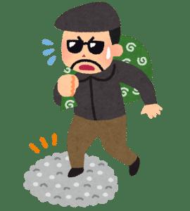 防犯砂利を踏む泥棒のイラスト