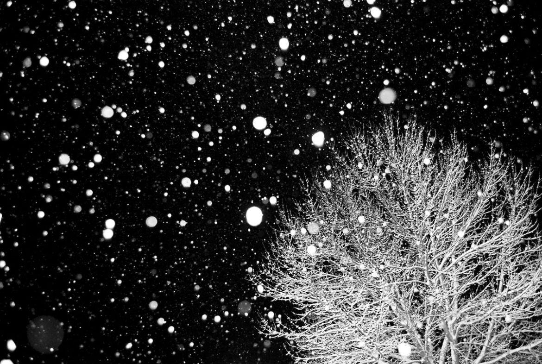 В Облучье выпал снег