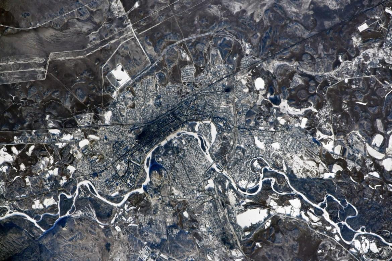 Как выглядит Биробиджан с борта МКС?