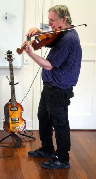 John T violently vibrates his viola!
