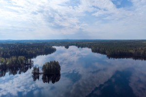 Finnish lakescape from above.