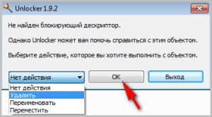 Окно действия программы Unlocker