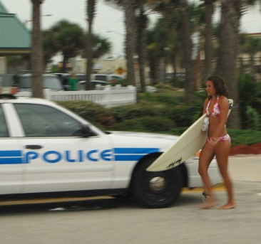 28 Surfer and Police Ormond Beach-L