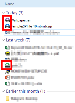 different file type icons in a folder list