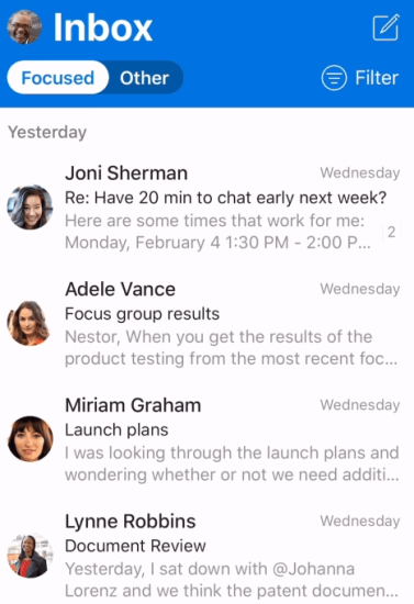 A screenshot of Outlook Mobile using the focused inbox feature on iOS