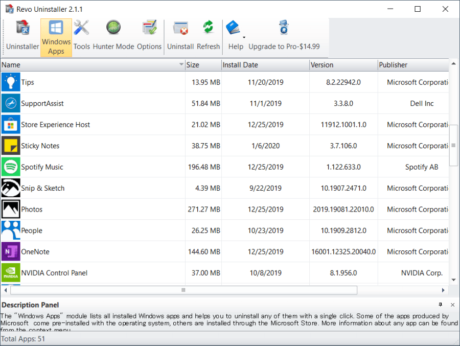 Screenshot of the Windows Apps remover