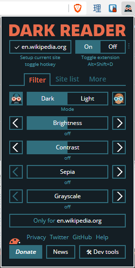 The dark reader extension's toggle options