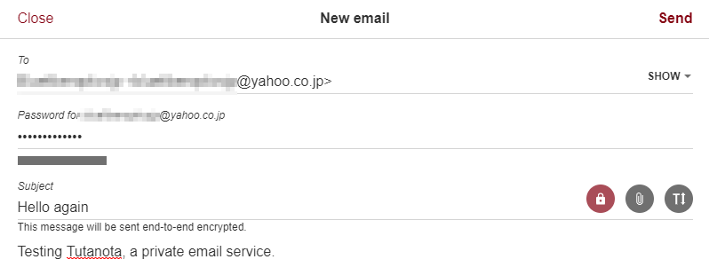 Screenshot of the compose window in Tutanota email
