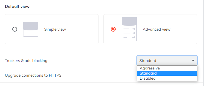 The new aggressive mode in Brave 1.11
