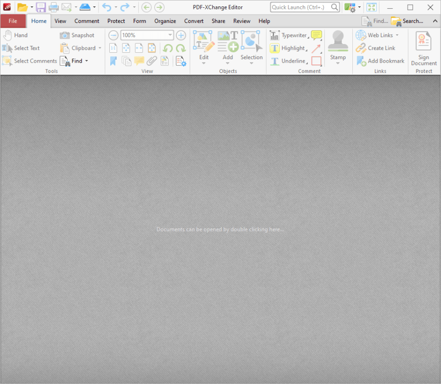 The main window when first opening PDF-XChange Editor