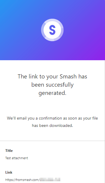 Link generated to download the file from Smash