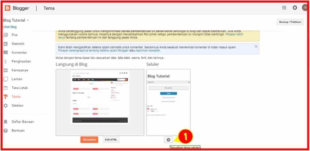 Pengaturan tampilan situs
