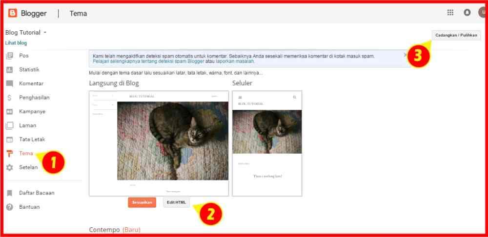 memasang template blog