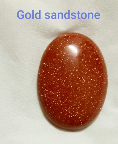 Gold sand stone chabochon oval