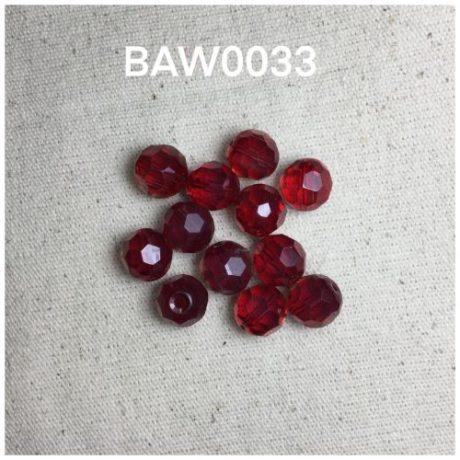 Kristal bulat 10 mili,merah opaque