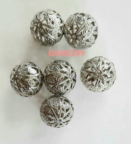 Manik logam bulat 18 mm ukir terawang