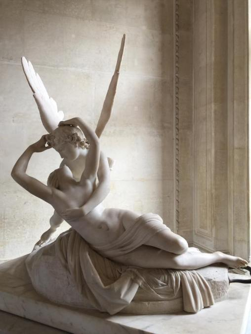 Psyche Revived by Cupid's Kiss at the Louvre in Paris, France.