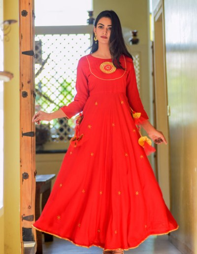 Floor Length Kurti with Gota Detailing