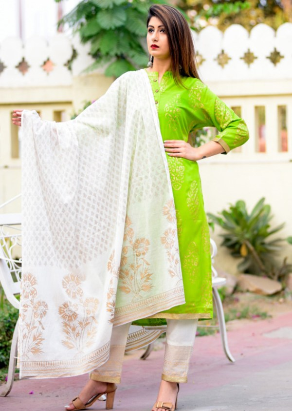 Green kurti palazzo and dupatta set
