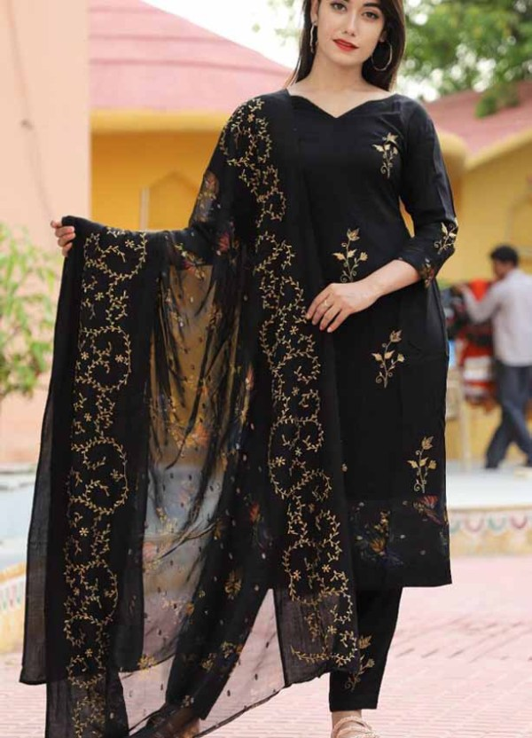 Rayon 3-peice Embroidered Kurti with Embroidered Dupatta [1053]