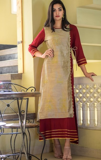 Rayon Designer Kurti with Chanderi Fabric